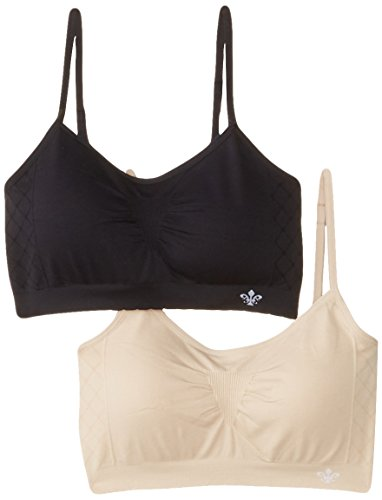 Lily of France Women's Dynamic Duo 2 Pack Seamless Bralette 2171941, Black/Barely Beige, Large/X-Large