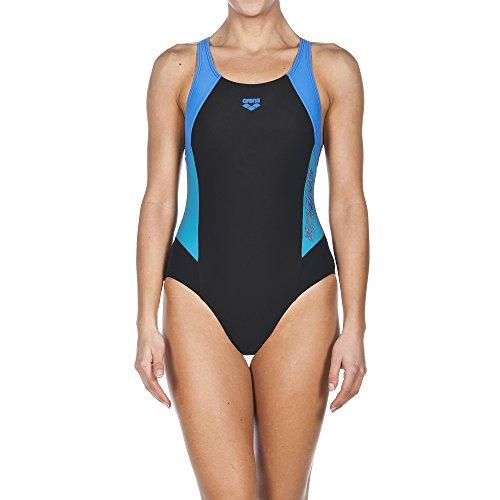 Arena Sport Drom–Bañador de mujer Black/Turquoise/Pix Blue