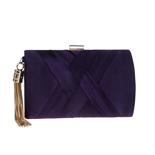 Silk Shoulder Ladies Clutch Purse Bag Gift Clubs Handbag Prom Bag Wedding Bridal Purple Party Evening Women For Tassel dX0wgxg