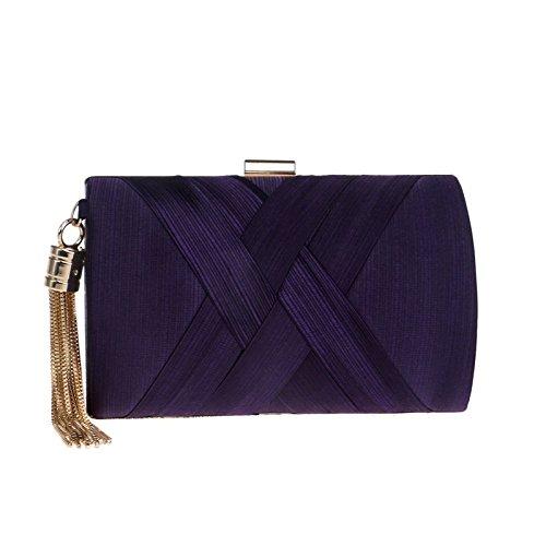 Handbag Evening For Wedding Ladies Purple Tassel Silk Bag Clubs Purse Shoulder Prom Bag Clutch Gift Bridal Party Women IPgtwqzx