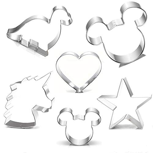 Cookie Cutter for Kids,Mickey Mouse Unicorn Dinosaur Heart Star Shapes Stainless Steel Cookie Cutters Mold for Cakes,Biscuits and Sandwiches(Set of 6) ()