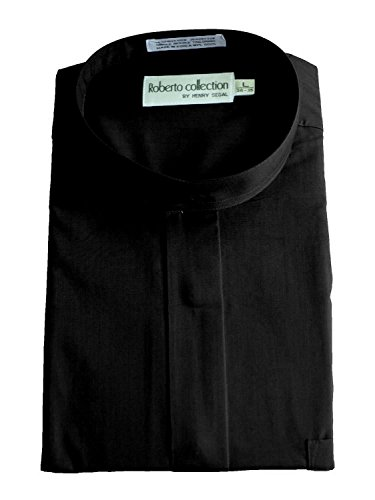 Henry Segal Men's Banded Collar Dress Shirt, Black 2XL 34/35