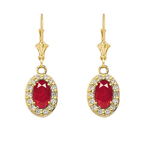 Dazzling 14k Yellow Gold Diamond and Oval-Shaped Ruby Leverback Earrings