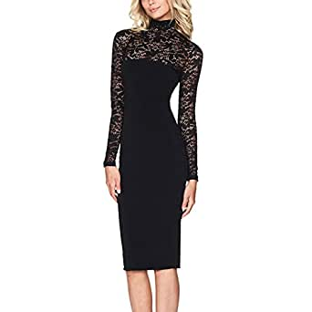 Timall Autumn Long Sleeve Lace Midi Vestidos Sexy Club Bandage Bodycon