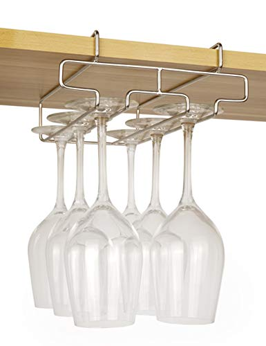 """Bafvt Wine Glass Holder - 2 Rows Wine Glass Rack Under Cabinet - 304 Stainless Steel Stemware Drying Rack, Fit for The Cabinet 1.2"""" or Less"""