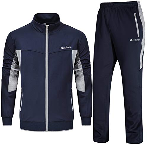 Rdruko Men's Sports Tracksuit Long Sleeve Full Zip Running Gym Set Activewear(Blue Grey,US XXL)