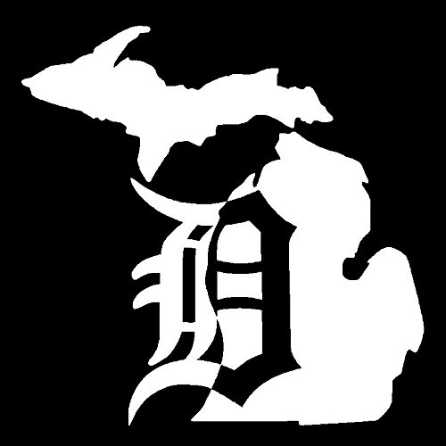 Detroit Tigers Michigan Vinyl Decal Car Truck Window Sticker Mitten Old English, Die Cut Vinyl Decal for Windows, Cars, Trucks, Tool Boxes, laptops, MacBook - virtually Any Hard, Smooth Surface
