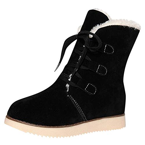 (LIM&Shop ⭐ Winter Snow Boot for Women Waterproof Anti-Skid House Shoe Ankle Outdoor Warm Fur Bootie Lace Up Insert Heels )