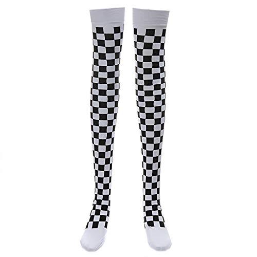 (VIccoo Clown Costume Black White Plaid Knee-High Long Socks Halloween Carnival Party - B#)