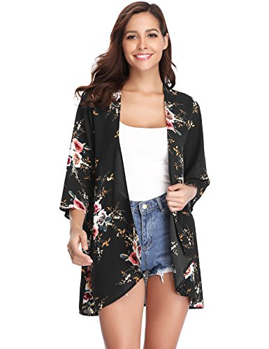 Abollria Women 3/4 Sleeve Floral Chiffon Casual Loose Kimono Cardigan Capes Black