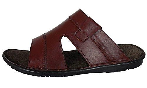 Gensen Mens Leather Smart Slip On Sandal Beach Mules Sandals Summer Shoes Slides New Brown (785) UiDgEasw