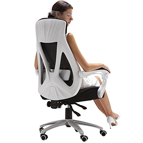 Hbada High Back Ergonomic Computer Desk Office Mesh Recliner Chair -White