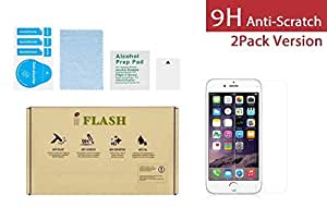 """iPhone 6S/6 glass Screen Protector, iFlash [2 Pack] Crystal Clear Tempered Glass Screen Protector for Apple iPhone 6S/6 4.7"""" - Case Friendly/Bubble Free/Transparent Crystal Clear Version"""