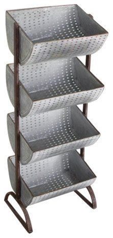 Kalalou Four Tiered Perforated Metal Display Tower, One Size, Gray