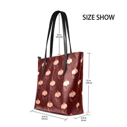 COOSUN Cherry Cupcakes Polka Dots auf Schokoladenbraun Zurück PU Leder Schultertasche Handtasche und Handtaschen Tasche für Frauen