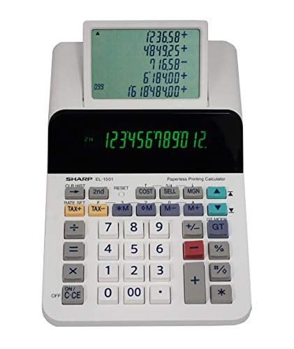 Sharp EL-1501 Compact Cordless Paperless Large 12-Digit Display Desktop Printing Calculator