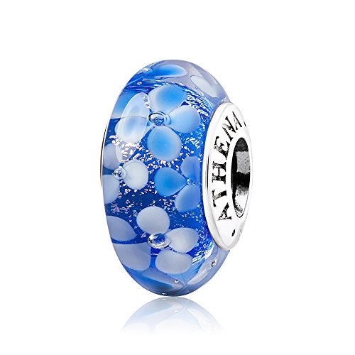 ATHENAIE Murano Glass 925 Silver Core Blue Flower Garden Bead Charms Color Blue