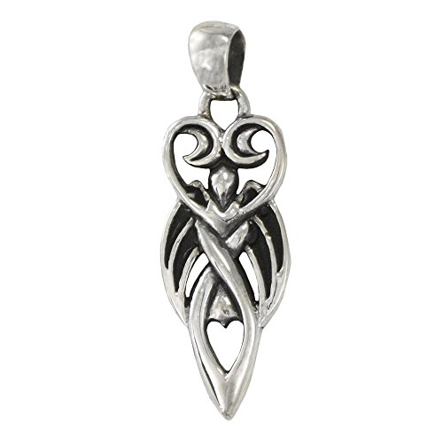 Sterling Silver Winged Moon Goddess Pendant