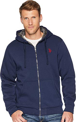 U.S. POLO ASSN. Men's Fleece Sherpa Hoodie, Classic Navy, L