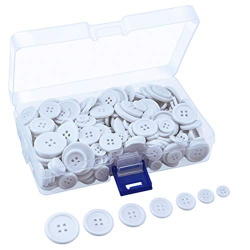 Sunmns 160g Buttons Round Resin Sewing Button with Storage Box, 4 Holes 7 Sizes (White)