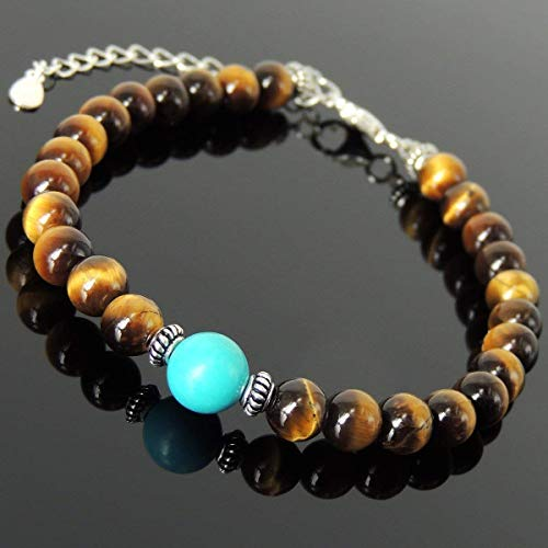 Men and Women Bracelet Handmade with 6mm Brown Tiger Eye, 8mm Enhanced Turquoise and Genuine 925 Sterling Silver Spacers, Clasp with Link