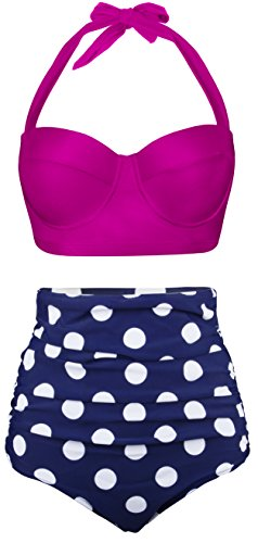 Aixy Women Vintage Swimsuits Bikinis Bathing Suits Retro High Waisted Polka - Females Suits Bathing In