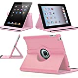 Pink 360 Degrees Rotating Stand Leather Case for Ipad 2 2nd ipad 3 3nd Generation