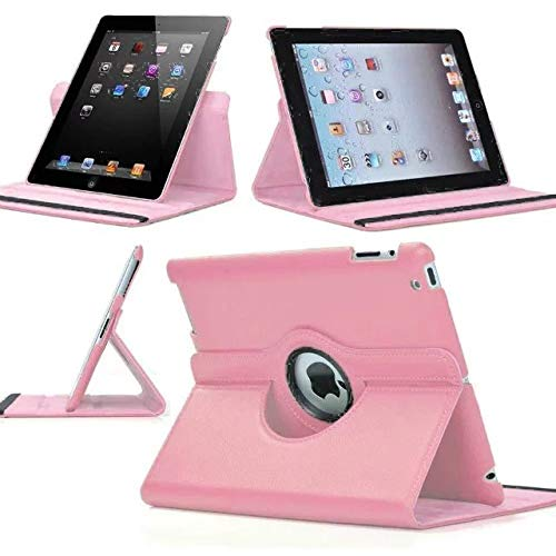 SuperLite 360 Degrees Rotating Stand Leather Case for Ipad 2/3/4, pink