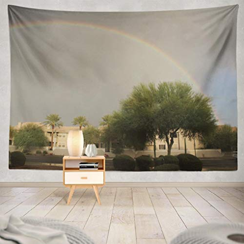 Hdmly Western Southwest Tapestry Wall Hanging Decor, Decorative Wall Tapestry North Desert City Arizona State Sunrise Palm Trees 60