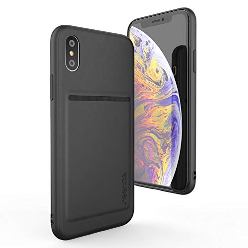 Wallet Case for iPhone Xs 5.8 inch - seenda Protective Genuine Leather Case with Card Slot Holder Wallet Phone Cover for iPhone Xs 2018 / iPhone X 2017 - Black