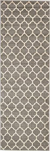 Unique Loom Trellis Collection Moroccan Lattice Dark Gray Runner Rug 2 5 x 8 0