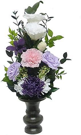 【仏花倶楽部®】のプリザーブドフラワー仏花:B01HDJSS22 【size M】(お花はもちろん、葉っぱにいたるまで、造花は一切使用しておりません))