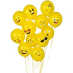 Kangaroo Emoji Universe Series One: Latex Emoji Smiley Face Balloons 72 Pack Yellow