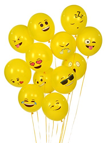 Emoji Universe Series One: Latex Emoji Smiley Face Balloons 72 Pack Yellow -