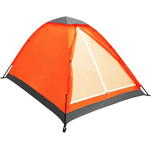 Yonovo Upgraded Lightweight 2 Person Camping Backpacking Tent With Carry Bag, Small Package (Orange)