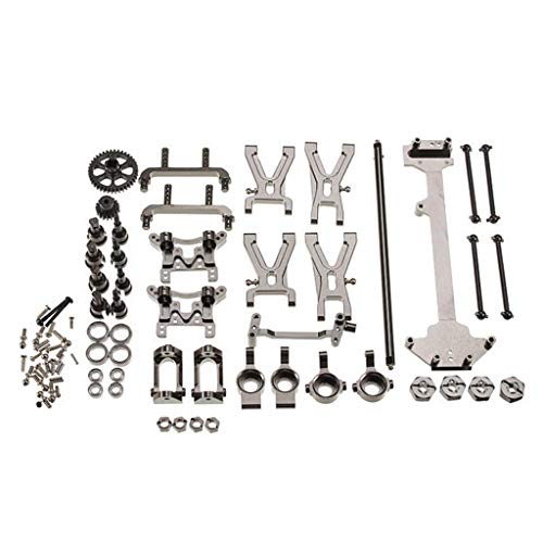 Hisoul RC Car Parts Kit Portable and Durable Upgraded Metal Parts Set for WLtoys 1/18 A949 A959 A969 A979 K929 RC Car (♥ Silver)