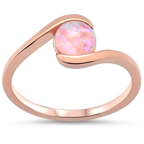 Oxford Diamond Co Sterling Silver Rose Gold Plated Round Pink Opal Ring Sizes 6