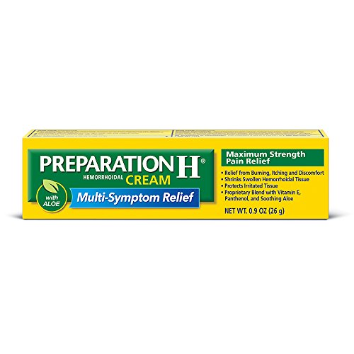 Preparation H Hemorrhoid Symptom Treatment Cream, Maximum Strength Pain Relief with Aloe, Tube (0.9 Ounce) (Pack of 3)