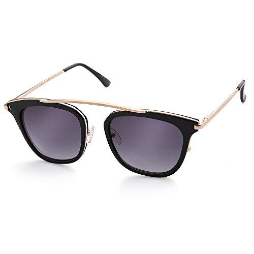 Vintage Square Sunglasses for Women, Gold Metal Brow Bar, Black Plastic Rimmed, Grey Gradient Lens, UV Protection ()