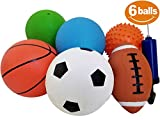 "ToysOpoly Set of 6 Sports Balls with 1 Pump - 5"" Soccer, 5"" Basketball, 5"" Volleyball, 5"" Playground, 5"" Knobby Ball, and 6.5"" Football - Best Toy Gift for Kids Toddler Boys and Girls Age 1, 2 and 3"