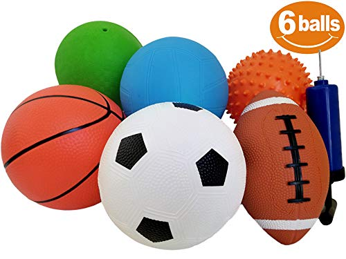 (ToysOpoly Set of 6 Sports Balls with 1 Pump - 5