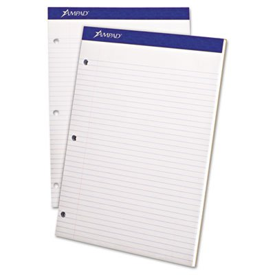 Ampad Products - Ampad - Evidence Pad, Dual College/Med Ruled, 8-1/2 x 11 3/4, White, 100 Sheets - Sold As 1 PD - Twice the sheets of other pads, plus extra-thick chipboard backing for easy handheld use. - Specially formulated for smooth writing. - Three-hole punched. - Microperforated for clean sheet removal. -