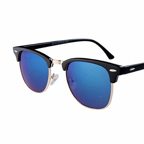 XIAOGEGE medio sol fresco film de hombres marco azul de gafas reflectante marea Gafas hembra sol Las square que gafas El los de color azul gafas retro Br0Bwq