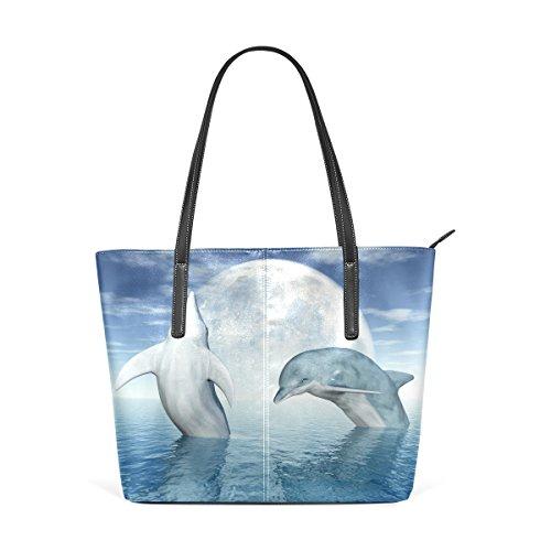 COOSUN Los delfines saltando PU de cuero bolso monedero y bolsos de la bolsa de asas para las mujeres Medio multicolor