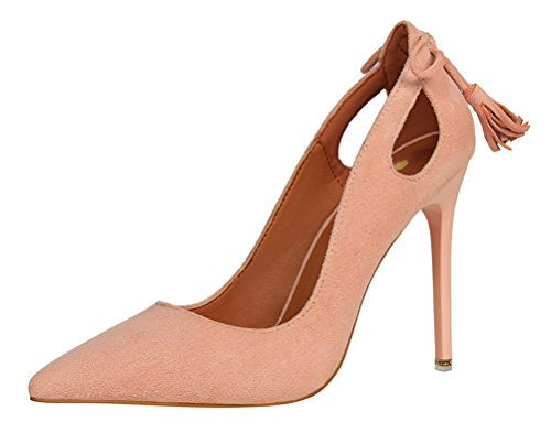 (T&Mates Womens Fashion Pointed Toe Slip-ons Hollow Out Stiletto Heel Bow Tassels Suede Pumps Shoes (6 B(M) US,Pink))