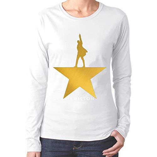 Musicals Hamilton Logo Women's Cotton Neck Long Sleeve T Shirt S White