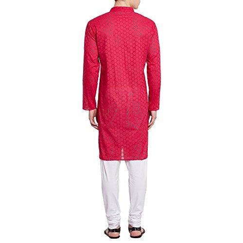 Herren bestickt Cutwork Baumwolle Kurta mit Churidar Pyjama Hose Maschinenstickerei, rosa