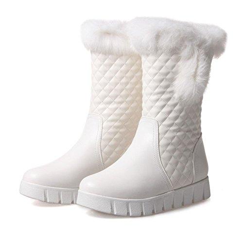 Aisun Womens Warme Antislip Ronde Neus Platform Slip Op Platte Nepbont Voering Korte Winter Snowboots Wit