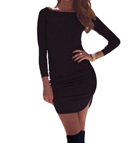 Pure Coolred Mid Color Cut Pencil Dress Crewneck Length Slim Black Out Women rRIWI0Tg