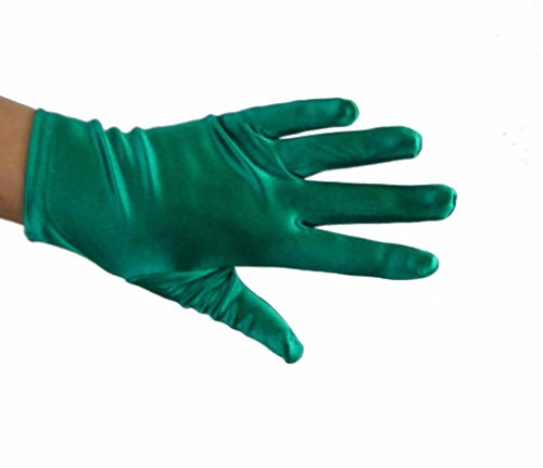 (Beautiful Wrist Length Short Satin Gloves in 34 Colors Assorted Glove Colors: Emerald)